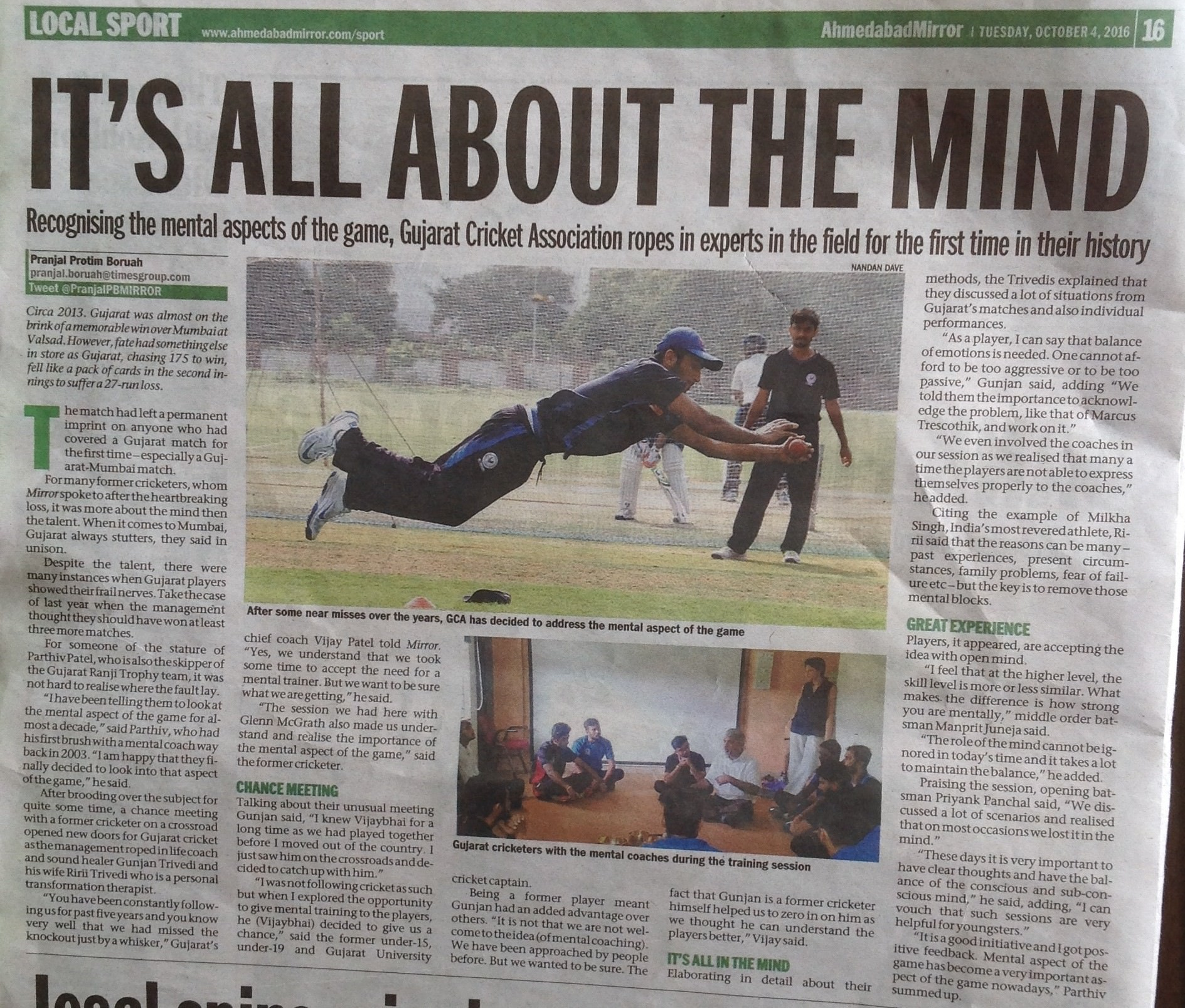 Ahmedabad Mirror Article