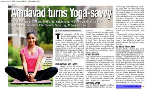 Times of India 21 June 2016 Quote by Riri on Yoga
