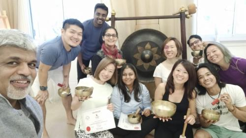 Singing bowls training Singapore Mar 2019